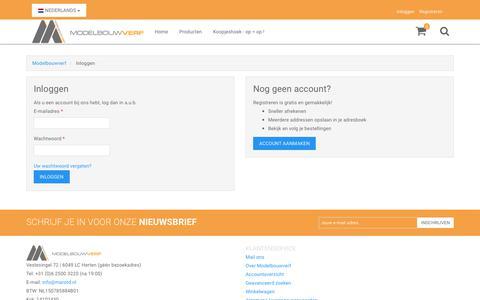 Screenshot of Login Page modelbouwverf.nl - Klant-login - captured Oct. 1, 2018