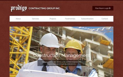 Screenshot of Home Page prodigy-cg.com - Prodigy Contracting Group - Tampa Bay General Contracting, Construction Management & Commercial Construction - captured Feb. 1, 2016