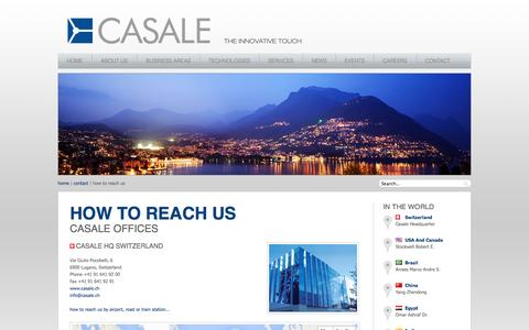 Screenshot of Contact Page casale.ch - Casale SA - How to reach us - captured Oct. 2, 2014