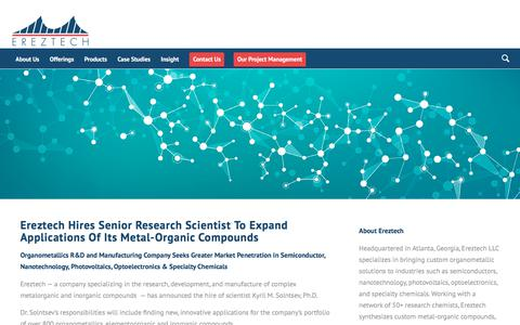 Screenshot of Press Page ereztech.com - Developments in Custom Synthesis of Organometallics - Ereztech - captured July 21, 2018