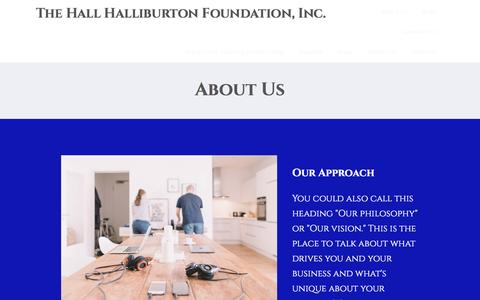Screenshot of About Page hallhalliburton.org - About Us – The Hall Halliburton Foundation, Inc. - captured Oct. 19, 2016
