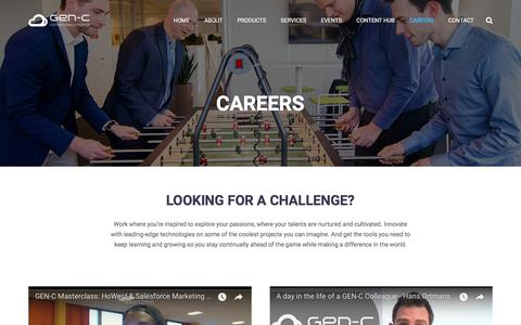 Screenshot of Jobs Page gen-c.be - Jumpstart your career | GEN-C - Your Salesforce.com partner - captured July 17, 2018