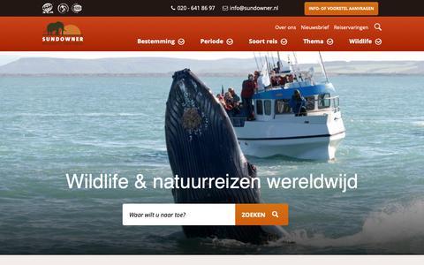 Screenshot of Home Page sundowner.nl - Wildlife & Natuurreizen   Sundowner Wildlife Holidays - captured Oct. 18, 2018