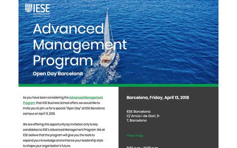 Screenshot of Landing Page iese.edu - Advanced Management Program - Open Day - IESE Business Scool - captured March 27, 2018