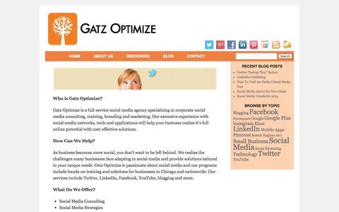Screenshot of About Page gatzoptimize.com - About Gatz Optimize – Expert Social Media Marketing Agency in Chicago - captured Sept. 29, 2014