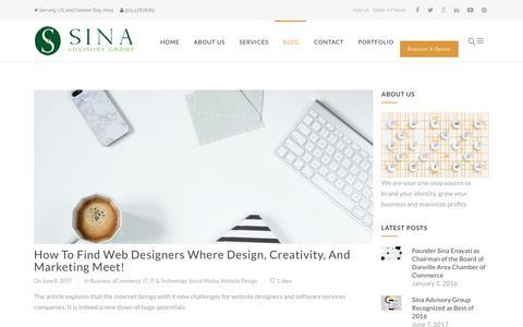 Screenshot of Blog sinaadvisorygroup.com - Blog, News, Brand Identity Experts | Sina Advisory Group - captured Aug. 6, 2017