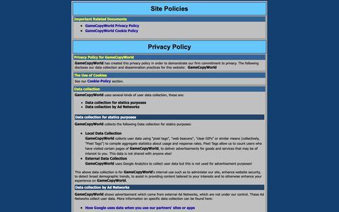 Screenshot of Privacy Page pagebin.com - GameCopyWorld - Site Policies - captured Nov. 12, 2018
