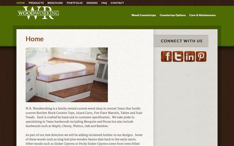 Screenshot of Home Page wrwoodworking.com - WR Woodworking — - captured Sept. 30, 2014
