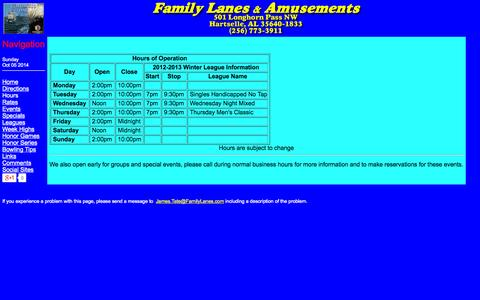 Screenshot of Hours Page familylanes.com - Family Lanes & Amusements - captured Oct. 5, 2014