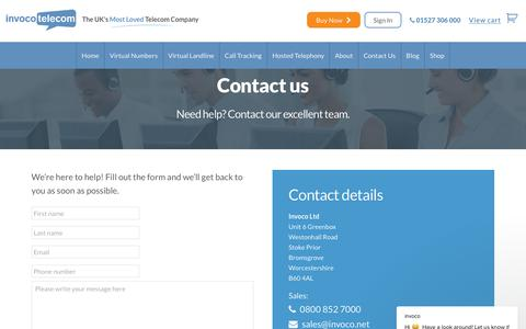 Screenshot of Contact Page invoco.net - invoco says… - captured Oct. 12, 2018