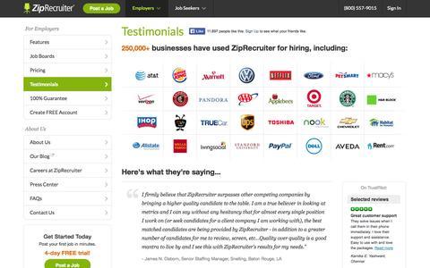 Screenshot of Testimonials Page ziprecruiter.com - Testimonials | ZipRecruiter - captured Oct. 10, 2014