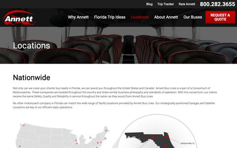 Screenshot of Locations Page annettbuslines.com - Locations | Annett Bus Lines - captured Nov. 6, 2018