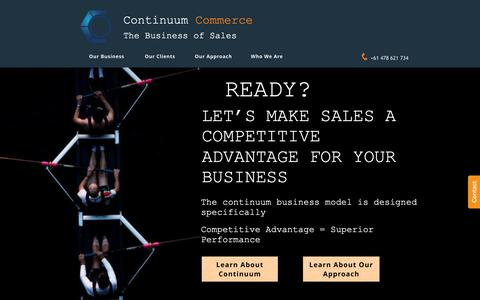 Screenshot of Home Page continuumcommerce.com.au - Continuum Commerce | Home - captured Sept. 29, 2018