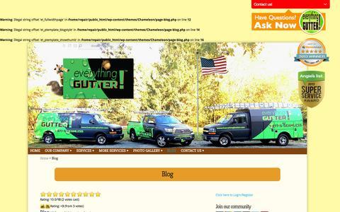 Screenshot of Blog everythinggutter.com - Blog - Read become informed Discover proper gutter functions | Everything Gutter - captured Sept. 30, 2014