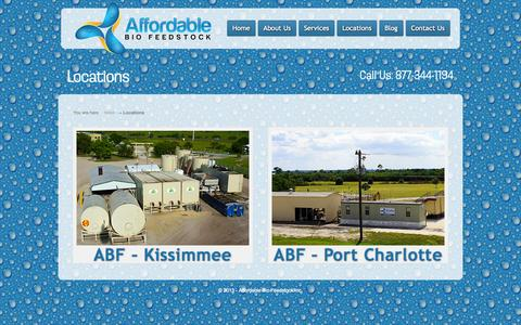 Screenshot of Locations Page abiofeedstock.com - Locations | Affordable Bio Feedstock Inc. - captured Oct. 4, 2014
