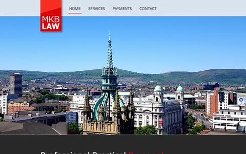 Screenshot of Home Page mkblaw.co.uk - MKB Law Solicitors in Belfast City Centre - captured July 21, 2016