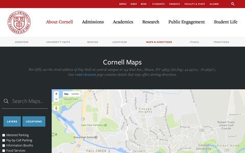 Screenshot of Maps & Directions Page cornell.edu - Cornell University | Maps - captured Jan. 28, 2017