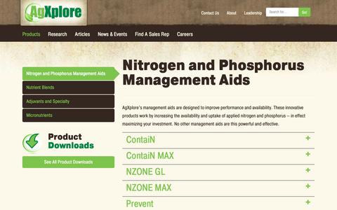 Screenshot of Products Page agxplore.com - Nitrogen and Phosphorus Management Aids | Product Categories | AgXplore - captured Oct. 3, 2018