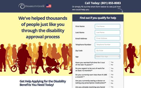 Screenshot of Landing Page disabilityguide.com - Free Social Security Disability Consultation | Disability Guide - captured Feb. 23, 2016
