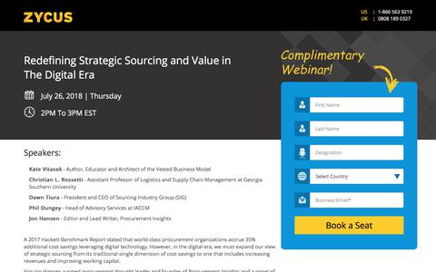 Screenshot of Landing Page zycus.com - Redefining Strategic Sourcing and Value in The Digital Era - captured Aug. 14, 2018