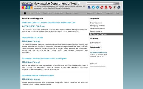Screenshot of Services Page nmhealth.org - Services and Programs - captured March 9, 2016