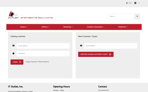 Screenshot of Login Page itoutlet.com - IT Outlet, Inc. - New Direct Pre-Owned Refurbished Cisco HP Lenovo Tegile Asset Recovery Switches Routers Optics Cables VoIP Voice Video Data Servers Laptops - captured Nov. 5, 2018