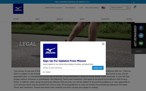 Screenshot of Terms Page mizunousa.com - Legal                                           | Mizuno USA - captured April 10, 2018