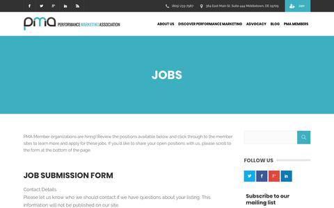 Screenshot of Jobs Page thepma.org - Jobs | The PMA - captured June 20, 2018