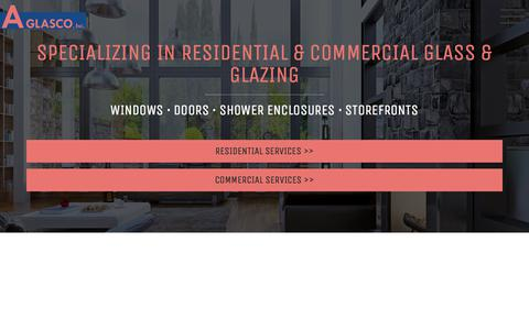 Screenshot of Home Page aglasco.com - San Diego Glass & Glazing - Residential & Commercial | A Glasco - captured July 16, 2018