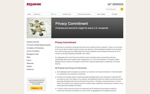 Screenshot of Privacy Page ixicorp.com - Privacy Commitment Â« IXI Services, a division of Equifax - captured Sept. 13, 2016