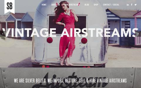 Screenshot of Home Page silverbelles.com - Silver Belles. We import, restore, sell & hire Vintage Airstreams - captured Aug. 12, 2015