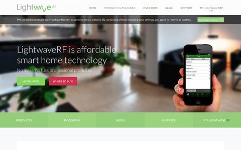 Screenshot of Home Page lightwaverf.com - LightwaveRF - captured Sept. 30, 2014