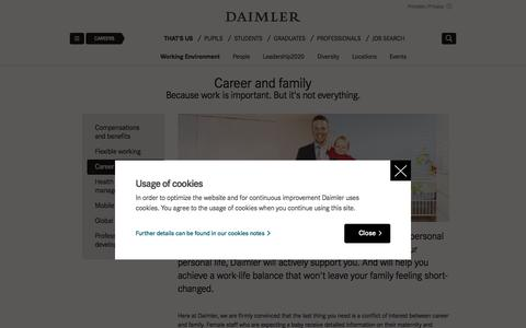 Screenshot of daimler.com - Balancing a career and a family   Daimler > Careers > That's us > Working Environment > Career and family - captured Oct. 19, 2017