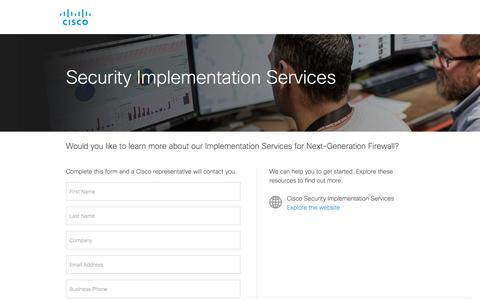 Screenshot of Landing Page cisco.com - Security Implementation Services - captured Sept. 19, 2018