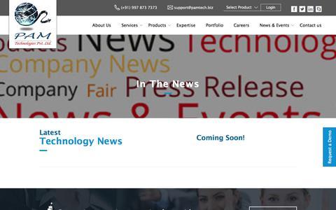 Screenshot of Press Page pamtech.biz - Latest Technology News - PAM Technologies - captured Sept. 25, 2018