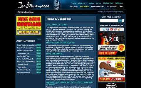 Screenshot of Terms Page jbonamassa.com - Joe Bonamassa -  Terms & Conditions - captured Sept. 19, 2014
