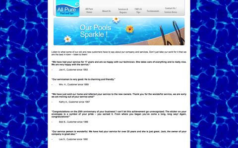 Screenshot of Testimonials Page allpurepools.com - Testimonials - All Pure Pool and Spa - captured Oct. 4, 2014