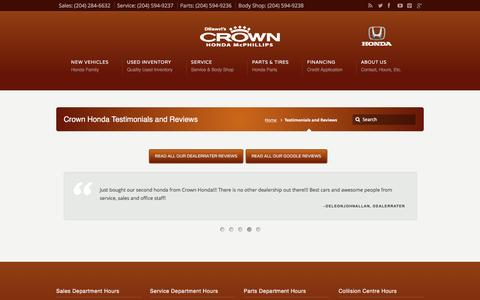 Screenshot of Testimonials Page crownhonda.ca - Testimonials and Reviews | Crown Honda - Winnipeg, Manitoba - captured March 8, 2016