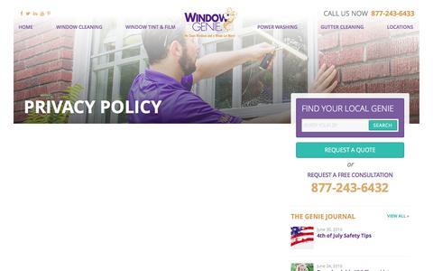 Screenshot of Privacy Page windowgenie.com - Privacy Policy - Window Genie - captured July 1, 2016