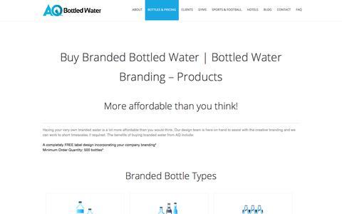 Screenshot of Products Page aqbottledwater.com - Buy Branded Bottled Water | Bottled Water Branding – Products - captured July 28, 2018