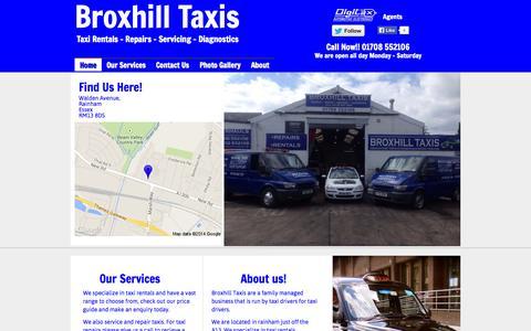 Screenshot of Home Page broxhilltaxis.com - Home - Broxhill Taxi Rentals - captured Sept. 30, 2014