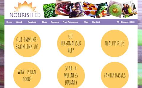 Screenshot of Home Page Services Page nourish-ed.com - Home - Nourish-ed - captured Oct. 9, 2014