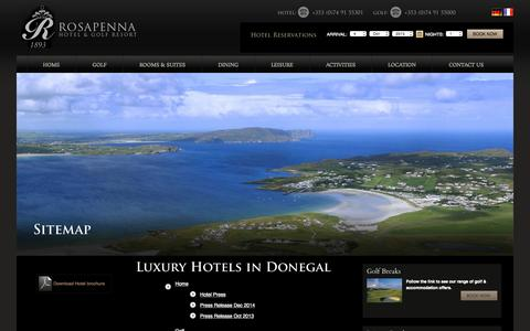 Screenshot of Site Map Page rosapenna.ie - Hotel in Donegal, Donegal Luxury Hotels, Donegal Hotels, Luxury Hotels in Donegal, Luxury Golf Resort Donegal - captured Oct. 4, 2015