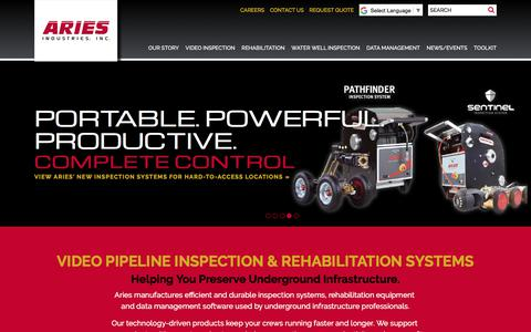 Screenshot of Home Page ariesindustries.com - Video Pipeline Inspection & Rehabilitation Systems - Aries Industries, INC. - captured Oct. 7, 2017