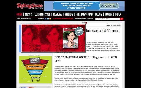 Screenshot of Terms Page rollingstone.co.id - RollingStone Indonesia   Music News, Reviews, Photos, Videos, Interviews and More - captured Sept. 19, 2014