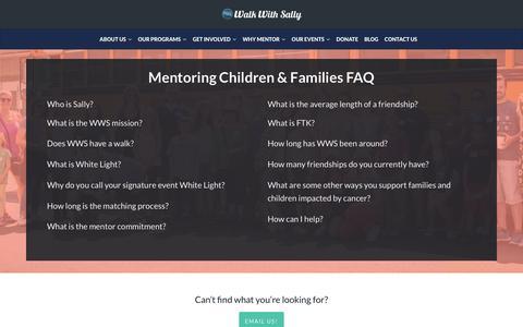 Screenshot of FAQ Page walkwithsally.org - Mentoring Children & Families FAQ   Walk With Sally - captured Sept. 21, 2018