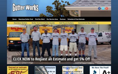 Screenshot of Home Page gutterworks.biz - Gutter Works. Gutters, Gutter Install, Gutter Replacement - captured Dec. 16, 2018