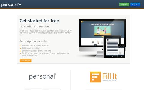 Screenshot of Pricing Page personal.com - Pricing - captured July 19, 2014