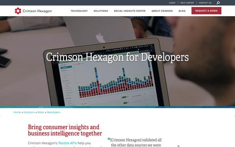Screenshot of Developers Page crimsonhexagon.com - Developers | Social Media Analytics API, Integrations, and More | Crimson Hexagon - captured May 10, 2017