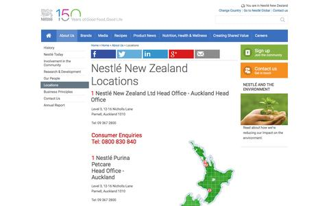 Screenshot of Locations Page nestle.co.nz - Locations - captured June 12, 2016